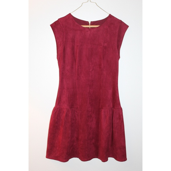 Greylin Dresses & Skirts - Greylin Burgundy Suede Fit and Flare Dress